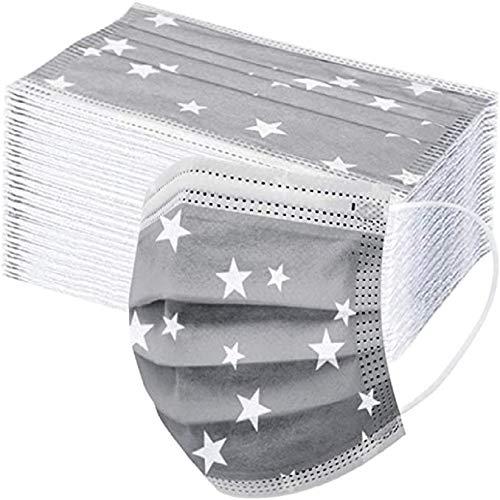50 Stück(Graue Sterne) Einmal-Mundschutz, Staubs-chutz Atmungsaktive Mundbedeckung, Erwachsene, Bandana Face-Mouth Cover Sommerschal