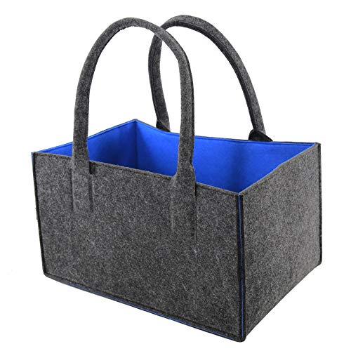 stijl macher Designer vilten tas | antraciet gemêleerd tweekleurig | 2019 | opvouwbare haardhouttas | boodschappentas | veelzijdige draagtas | shopper | speelgoed opslag | afmetingen 45 x 25 x 30