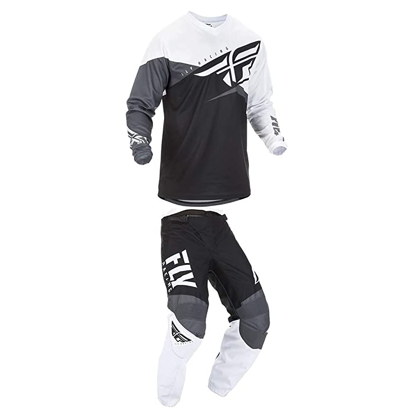 Fly Racing 2019 F-16 Jersey and Pants Combo Black/White/Gray Adult Racing Suit Gear Set (Small/32)