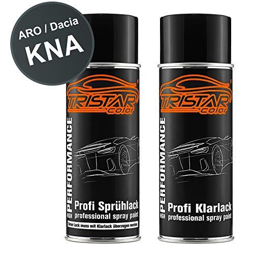 TRISTARcolor Autolack Spraydosen Set für ARO/Dacia KNA Gris Comete Metallic/Kometen Grau Metallic Basislack Klarlack Sprühdose 400ml