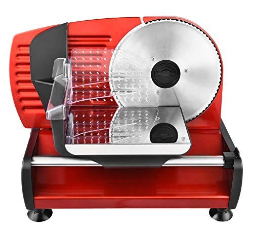 Team Kalorik elektrische allessnijder/broodsnijmachine, traploze snijdikte-instelling (0-15 mm), 150 W, rood, TKG AS 1003 R