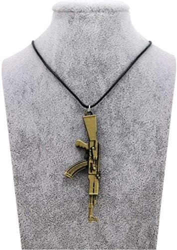 JIUJINHerren S Pistole Anhänger Halskette Vintage Gold Ak 47 Halskette Herren Schmuck Halsbänder Geschenk Seil Kette Antik Gold