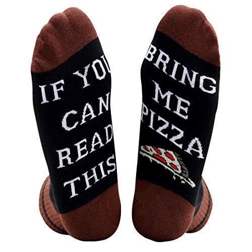 akiido Damen wenn sie dieses lesen können bitte bringen sie mir ein bier pizza socken funny saying stricken von socken groß 008-pizza2-schwarz