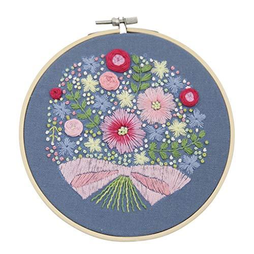 Gaoqi Gama Completa de Tela de Bordado Estampada en Punto de Cruz con Kit Floral, Bricolaje casero de Pascua Onsale