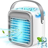 Portable Air Conditioner, Rechargeable Evaporative Air Conditioner Fan with 3 Speeds 7 Colors, Cordless Personal Air Cooler with Handle for Home, Office and Room