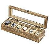 SRIWATANA Uhrenbox 6 Uhren Uhrenaufbewahrung Uhrenkasten Holz mit Glasfenster Geschenk für Herrn Dame