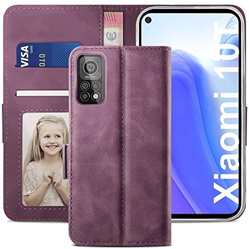 YATWIN Handyhülle Xiaomi Mi 10T 5G Hülle, Klapphülle Xiaomi Mi 10T Pro 5G Premium Leder Brieftasche Schutzhülle [Kartenfach] [Magnet] [Stand] Handytasche Hülle für Xiaomi 10T/10T Pro, Weinrot
