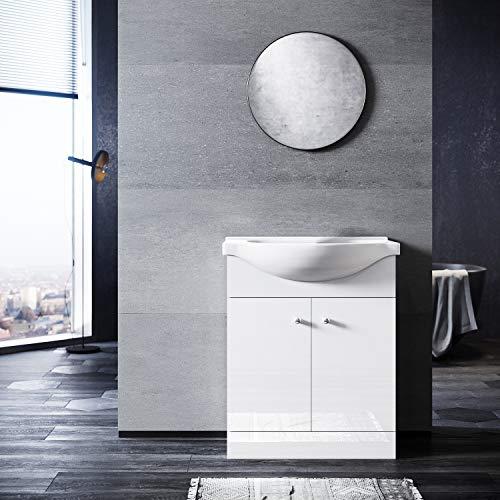 SONNI Badmöbel Waschbecken mit Unterschrank 2in1 Set Waschtisch bodenstehend Weiß Hochglanz 655mm