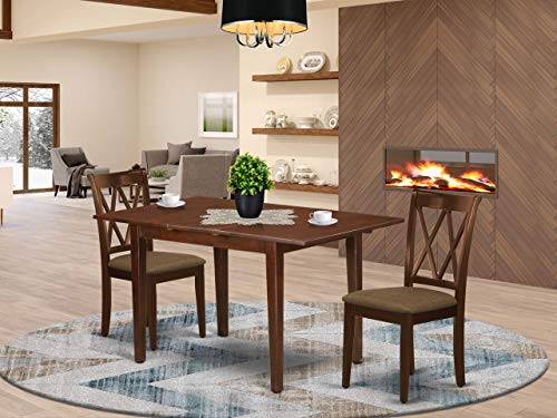 3Pc Dinette Set Includes a Rectangular Kitchen Table with Butterfly Leaf and Two Double X Back Microfiber Seat Dining Chairs, Mahogany Finish