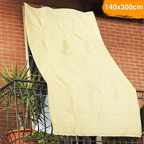 Bakaji luifel van HDPE, UV-bescherming, 90% voor balkon en veranda, met oorbellen, beige (140 x 300 cm)