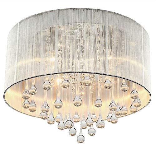 TAIDENG Luz redonda LED LED Lámpara de dormitorio de cristal regulable Lámpara de techo montada al ras de la tela moderna Lámpara de la lámpara Lámpara de lluvia de la lámpara de la lámpara de la lámp
