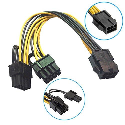 R01 18cm 6pin PCIe auf 2X 8pin (6+2) Grafikkarte Stromkabel PCI-Express Adapter, 6-Pin PCIe weiblich auf 2X 6+2-Pin PCIe männlich, 18cm Kabellänge