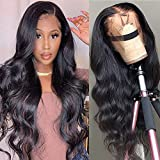 Star Show Unprocessed Brazilian Body Wave Human Hair Wigs 13X4 Lace Front Wigs with Baby Hair 150% Density Pre Plucked Natural Hairline wigs for Black Women (18 inch)