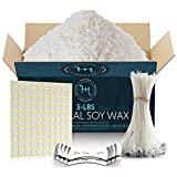 Hearth & Harbor Natural Soy Wax and DIY Candle Making Supplies - 5 Lbs Soy Candle Wax Flakes with 100 Cotton Wicks, 2 Metal Centering Device