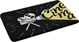 """Movie Theater Thick Cozy Floor Rug Water Absorbent Microfiber Bath Mat, Movie Projector Sketch with Grunge Cinema Lettering on Black Backdrop 24"""" x 35"""" Perfect Plush Carpet Mats for Shower"""