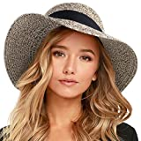 FURTALK Womens Beach Sun Straw Hat UV UPF50 Travel Foldable Brim Summer UV Hat (Medium Size (21.8'-22.4'), Mixed Khaki New)