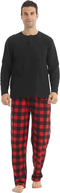 Men's Fleece Pajamas Set Comfy Soft Knit Longsleeve Henley Top and Polar Fleece Warm Pants Sleepwear Lounge Sets