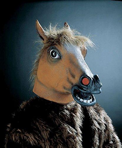PARTY DISCOUNT ® Vollkopf-Tiermaske 'Pferd' mit Plüschhaar, braun