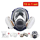 EROCK 15 in 1 Full Face Gas Dust Mask, Complete Suit Activated Carbon Respirator Paint Respirator Gas Chemical Dustproof Pesticides Mask Respirator Safety Mask & Accessories