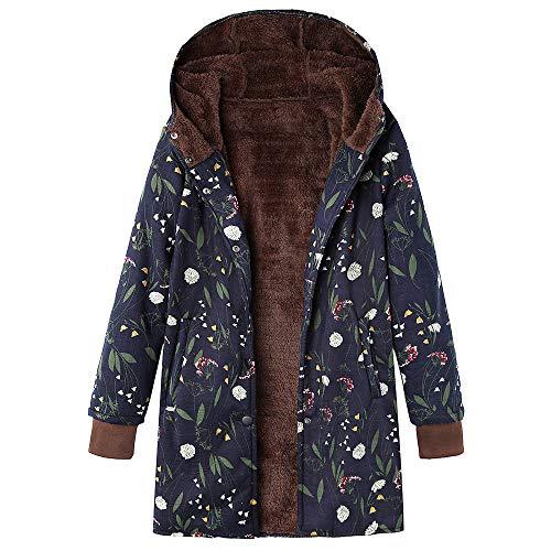 iHENGH Damen Herbst Winter Bequem Mantel Lässig Mode Jacke Frauen Womens Winter Warm Outwear Blumendruck Mit Kapuze Taschen Vintage Oversize Mäntel