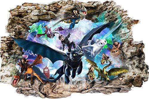 Drachenzähmen leicht gemacht Cartoon Smashed Wandaufkleber für Schlafzimmer Jungen und Mädchen Wandbild Aufkleber Größe: Groß 80 cm X 53 cm