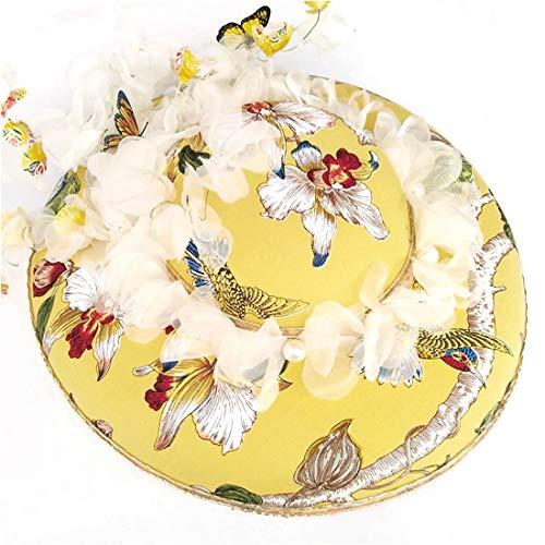 LASTARTS Sombrero de Verano para Mujeres Sombrero Nupcial, Sombrero de Flores Hecho a Mano, Tocado de Mariposa, Vestido de Novia, Sombrero de Imagen.Empalme elástico Transpirable Confort