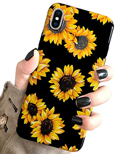 iPhone Xs Case Vintage Flower Floral,J.west Cute Yellow Sunflowers Black Soft Cover for Girls/Women Sturdy Flexible Slim fit Fashion Design Pattern Drop Protective Case for iPhone X/XS