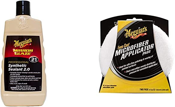 Meguiar's M2116 Car Sealant, 473 ml & X3080EU Even Coat 5 Inch Microfibre Applicator Pads (2 Pack) for Hand Applying Compounds, Polishes and Leather Cleaners: image