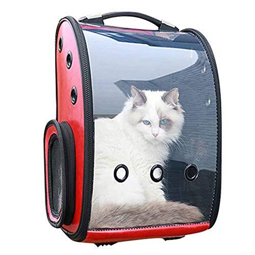 WOKEY Pet Carrier Hunde Rucksack,Panorama Durchsichtig Fenster Hunderucksack Mit Weltraumkapsel Sicherheit Komfort Für Kleine Hunde Reise Wandern Hunde Tasche,Red