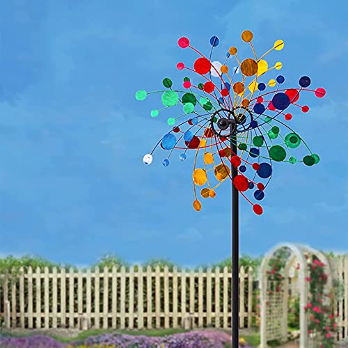 LIOYUHGTFY Unique and Magical Metal Windmill Solar Wind Spinner Outdoor Décor Dual Direction Kinetic Sculpture Metal Kinetic Garden Stake Lights Windmill 915