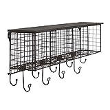 Linon AHWE12381 Lanette 4-Cubby Wall Shelf, 13' x 30' x 6.5', Black
