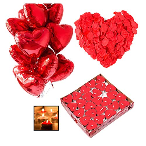 Ventdest Kit Romántico de Velas y Pétalos. 50 Velas en Forma de Corazón + 1000 Pétalos de Rosa Roja de Seda + 10 Globos Corazón Rojo - Decoración para Bodas, San Valentín y Compromiso