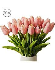 造花 チューリップ 花束「20本セット」6色選択可 チューリップ 花言葉:優しさ、思いやり、愛着、愛情、幸福 ピンク 赤 白 黄 pure white マルチカラー