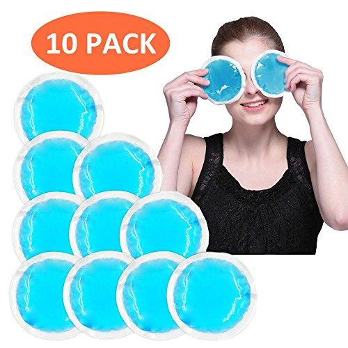 Paquetes de hielo gel redondos y reutilizables(paquete 10) para compresas frías o calientes, ideal para lesiones de niños, muelas del juicio, lactancia materna, reducir la hinchazón o el dolor - Azul