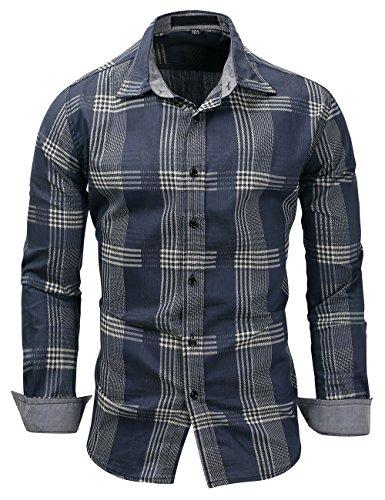 Pinkpum Homme Chemise en Coton à Carreaux Slim Fit Manches Longues Basic Business Loisirs,Bleu 5,L