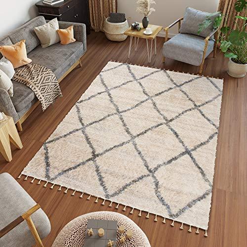 Tapiso Versay Fransen Teppich Shaggy Creme Grau Modern Boho Geometrisch Zig Zag Streifen Marokkanisch Hochflor Langflor Wohnzimmer ÖKOTEX 140 x 200 cm
