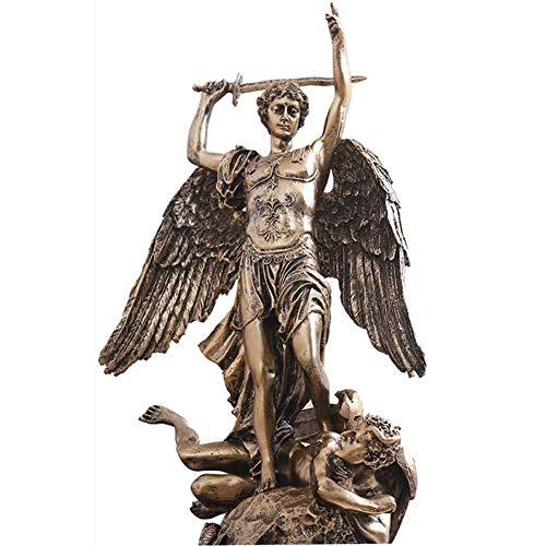 ZXCVB Statue Alte di San Michele Arcangelo, Bronzo Fuso, Figurine del Dio Greco San Miguel Che Uccide Il Diavolo Lucifero (15 x 9 x 9 Pollici)