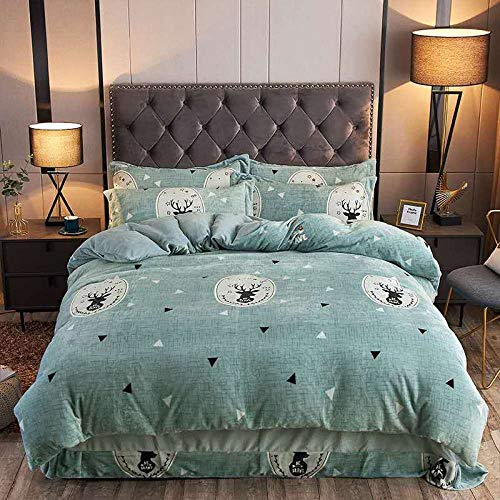 Shinon flannelette duvet cover set king size-Thickened four-piece flannel warm winter single bed single king-size duvet cover, etc.-K_1.8m bed (4 pieces)