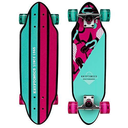 "Kryptonics Mini Cutaway Cruiser Skateboard - Complete 26"" Cruiser Board for Kids & Teens- Mermaids"