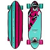 Kryptonics Mini Cutaway Cruiser Skateboard - Complete 26' Cruiser Board for Kids & Teens- Mermaids