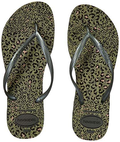 Havaianas Women's Slim Animal Flip Flop Sandal, Olive Green Metallic, 11-12