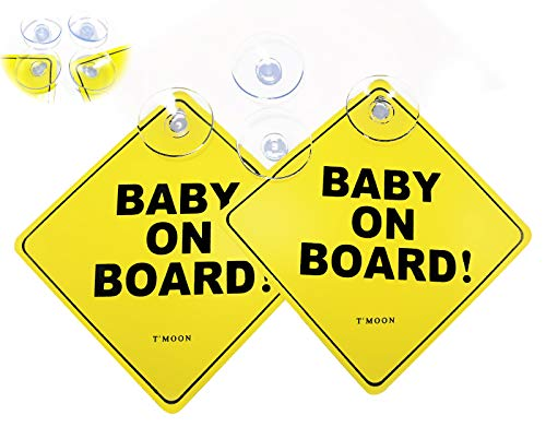 Kapel Baby on Board Sign with 4 Big Suction Cups. Thicker, Heat Resistant, Perfect in All Weathers