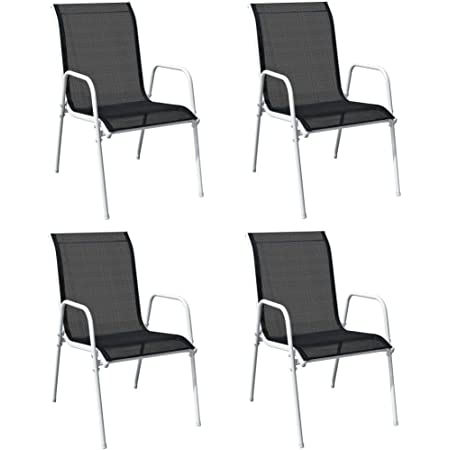 vidaXL 4X Stackable Garden Chairs Outdoor Seating Furniture Stacking Patio Dining Dinner Side Chair Armchair Steel and Textilene Black