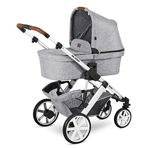 ABC Design Kinderwagen Salsa 4 – Kombi-Wagen für Neugeborene & Babys bis 22kg – Inkl. Sportsitz & Tragewanne – Kleines Faltmaß & besonders leicht – Farbe: Graphite Grey