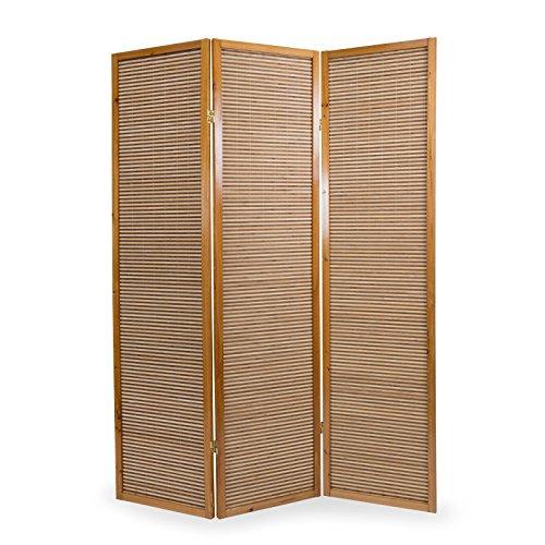 Homestyle4u 381, Paravent Raumteiler 3 teilig, Bambus Holz, Braun