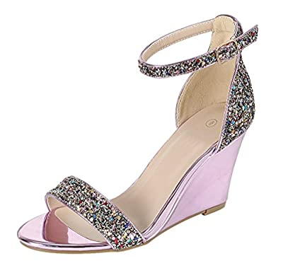 Cambridge Select Women's Open Toe Single Band Buckle Ankle Strappy Glitter Dress Wedge Sandal (7 B(M) US, Pink)