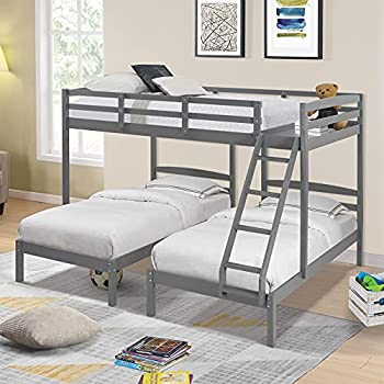 Full Over Twin & Twin Bunk Bed Triple Bunk Beds with Storage,Wooden Bunk Beds for Kids Teens Adults  Gray