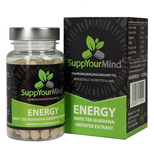 SuppYourMind ENERGY   Mate-Tee Guarana Grüntee Extrakt   natürliches Koffein ohne Zusatzstoffe - hergestellt in Deutschland   100% vegan   60 Kapseln