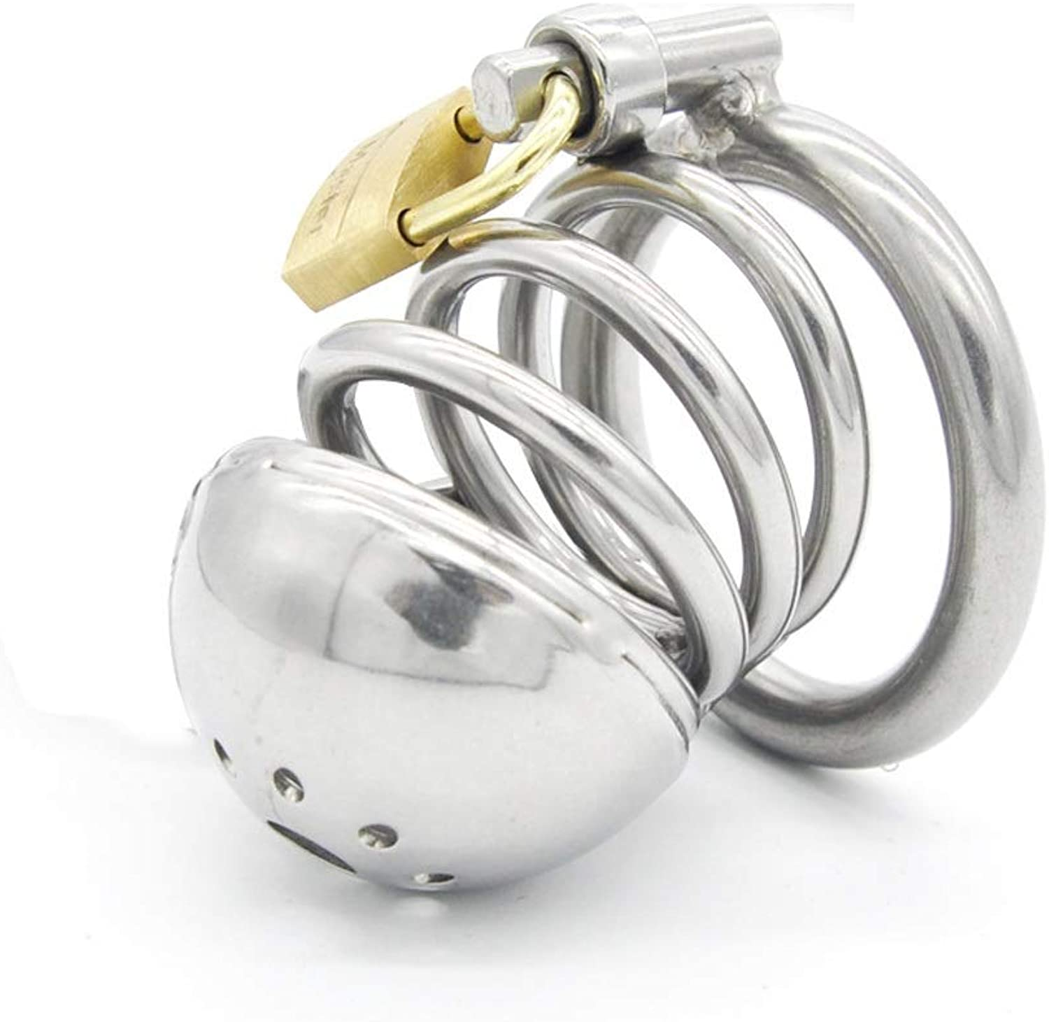 SLH Creative Male Stainless Steel Penis Lock Stimulating Toy Cage Length 6cm and Diameter 3.5cm
