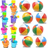 """12 Inflatable Beach Balls 12"""" + 12 Mini Beach Bucket and Shovel Set 3.2"""", Great Toy Set for Birthday Parties and Beach and Mermaid Themed Party Favors, Bulk Beach Ball and Sand Pail Set"""